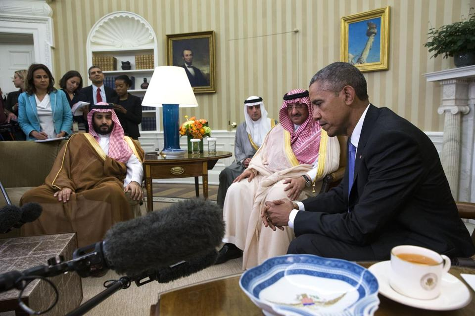 Prince Mohammed bin Salman (seated at left) with President Obama and Crown Prince Mohammed bin Nayef (second right) at the White House in May.