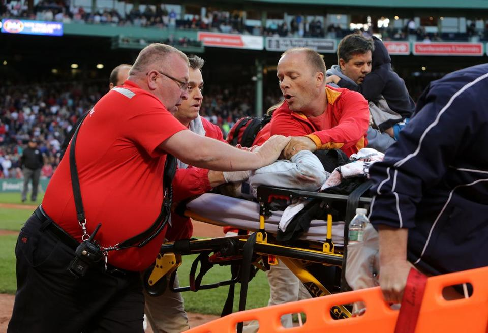 Tonya Carpenter was injured by a broken bat at a Red Sox game against the Athletics.
