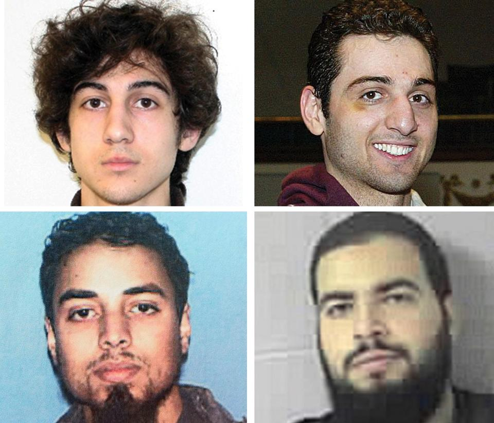Dzhokhar and Tamerlan Tsarnaev (top right and top left) carried out the Marathon bombings; Rezwan Ferdaus (bottom left) planned to crash model planes laden with explosives into government buildings; and Tarek Mehanna (bottom right) translated documents for Al Qaeda.