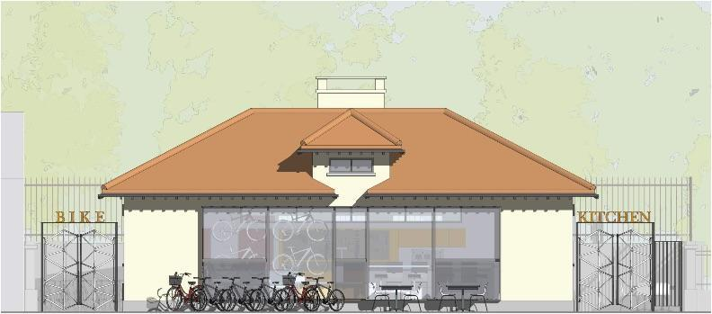 A rendering of the proposed restoration of the Upham's Corner Comfort Station into The Bike Kitchen.