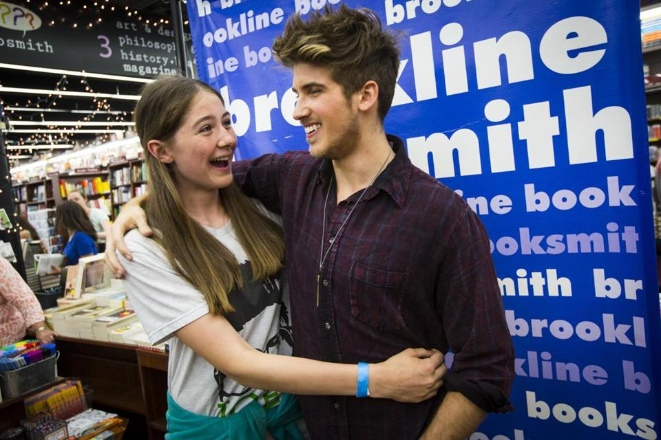 Youtube star joey graceffa draws hundreds of fans to brookline chloe hopkins greeted hometown web star joey graceffa with a hug m4hsunfo