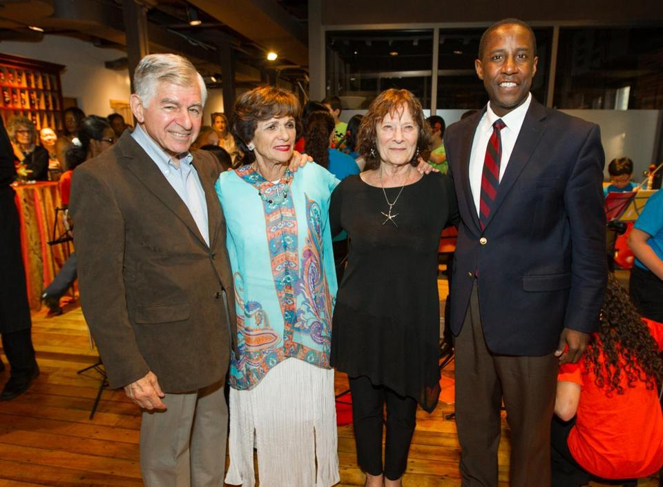 From left: Michael and Kitty Dukakis, Johnson String Project founder Carol Johnson, and Newton Mayor Setti Warren.