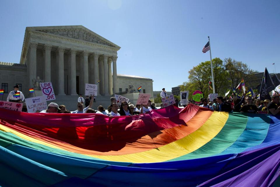 Demonstrators stood in front of the Supreme Court in April.