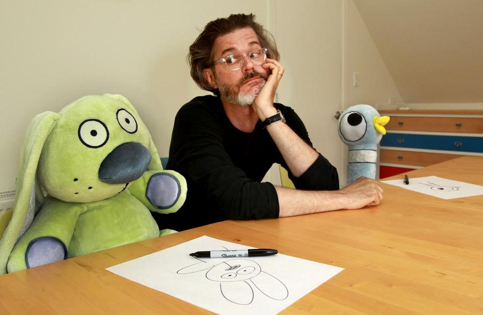 author mo willems with knuffle bunny and the pigeon stuffed characters from his books