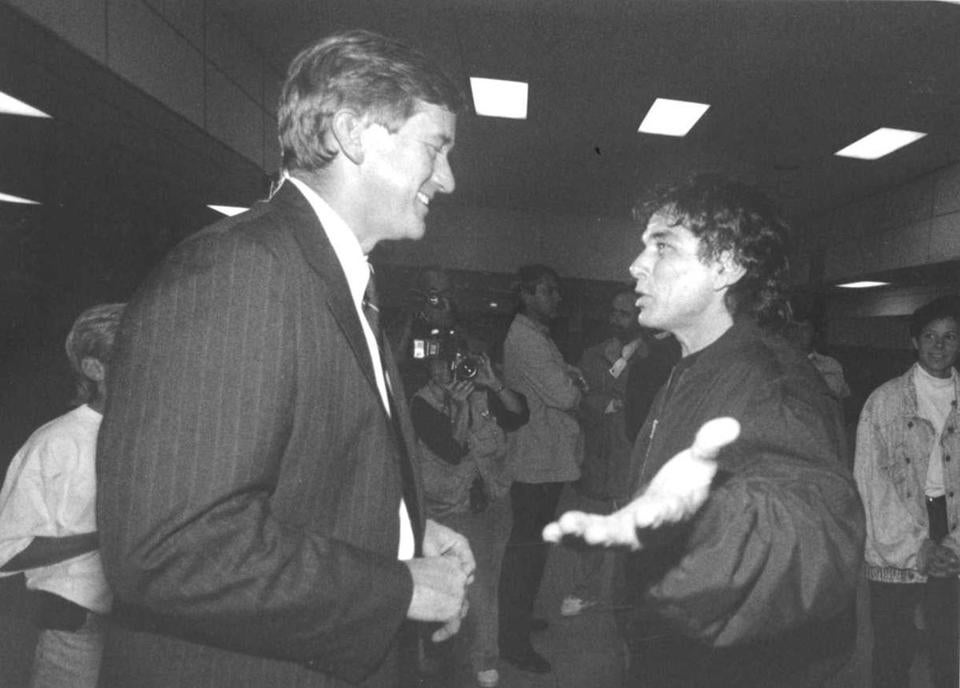 Weld talked with Grateful Dead drummer/percussionist Mickey Hart during a concert break backstage at the Boston Garden in September 1992.