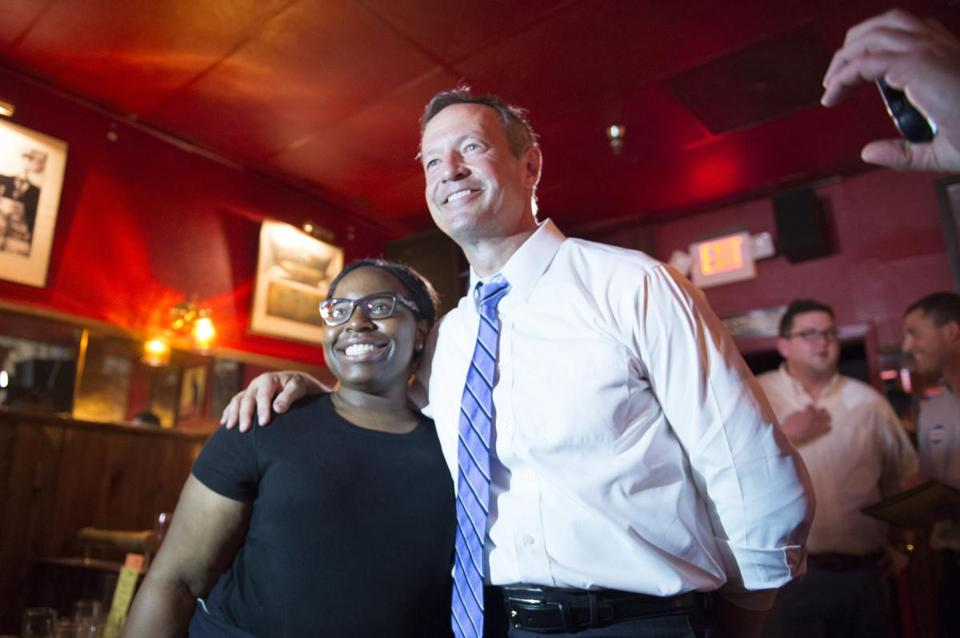 Martin O'Malley posed for a photograph in Iowa City.