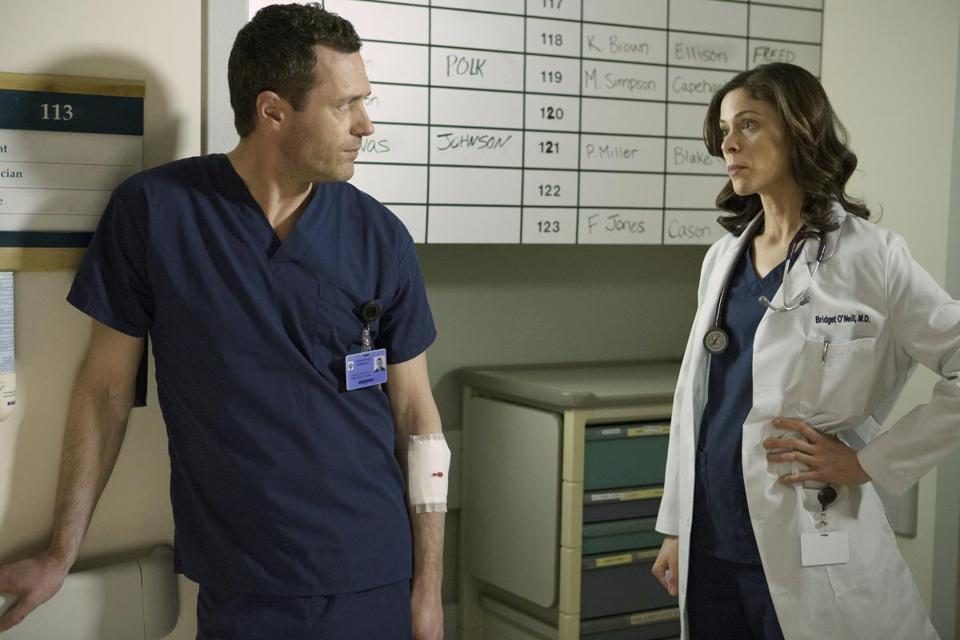 "Jason O'Mara and Lauren Stamile in a scene from USA's ""Complications."""