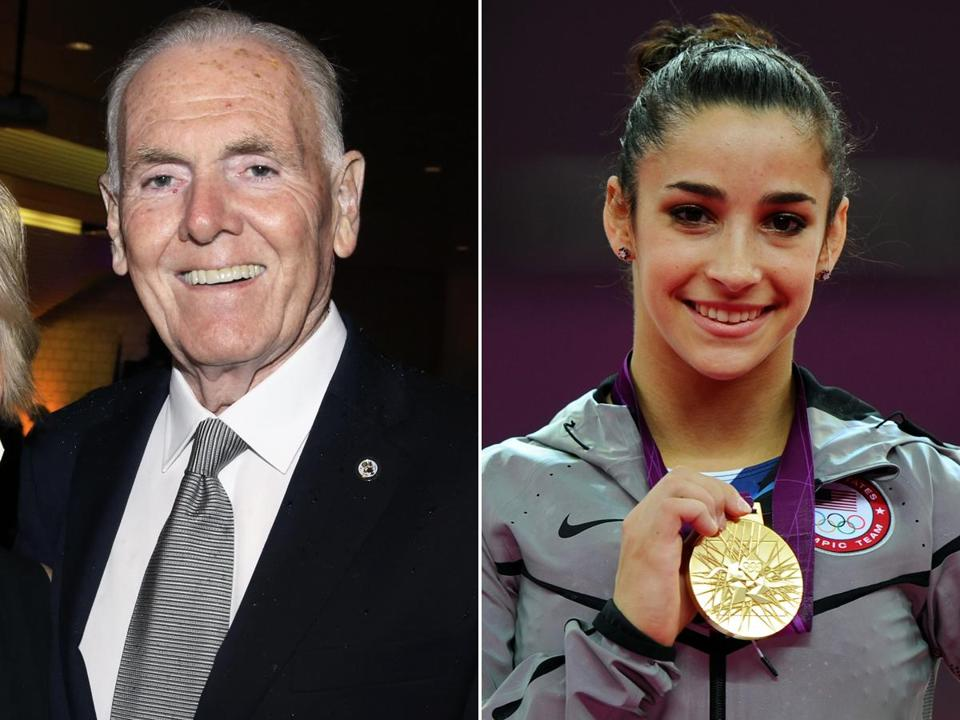 Former Boston Mayor Ray Flynn (left) and 2012 gold medal gymnast Aly Raisman will join the Boston 2024 board.