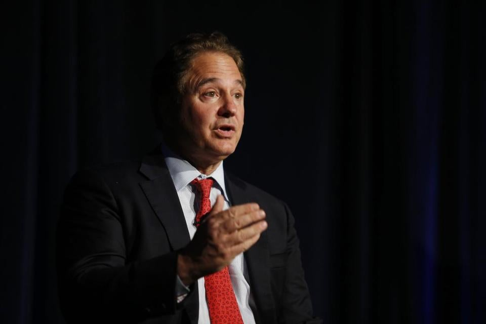 South Boston, Massachusetts -- 6/16/2015-- Steve Pagliuca, Boston 2024 Chairman, outlines some of the benefits of a Boston Olympics in his first speech as chairman in South Boston, Massachusetts June 16, 2015. Jessica Rinaldi/Globe Staff Topic: 17pages Reporter: