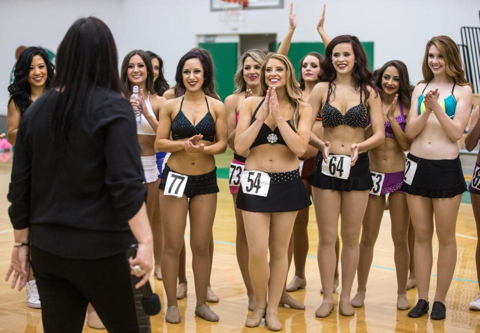 Celtics Dance Team director Marina Ortega spoke Monday to team finalists during final auditions at the Celtics' practice facility in Waltham.
