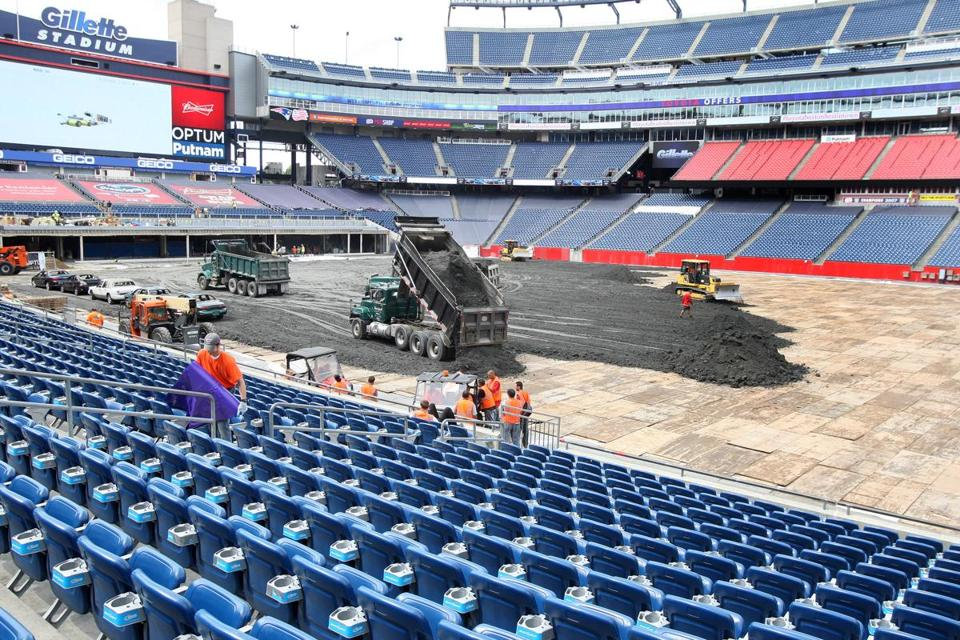 Base soil is spread Wednesday on the field at Gillette Stadium in preparation for Saturday's Monster Jam.