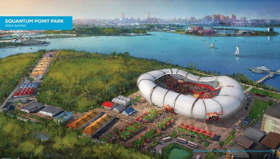 A conceptual drawing shows what the beach volleyball venue might look like.
