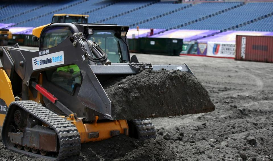 Foxboro Ma 6/18/2015 Monster Truck competition preparations at Gillette Stadium. Staff/Photographer Jonathan Wiggs Topic: Reporter
