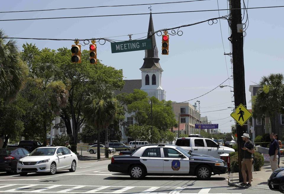 Police blocked a road leading to the Emanuel African Methodist Episcopal Church on Thursday morning.
