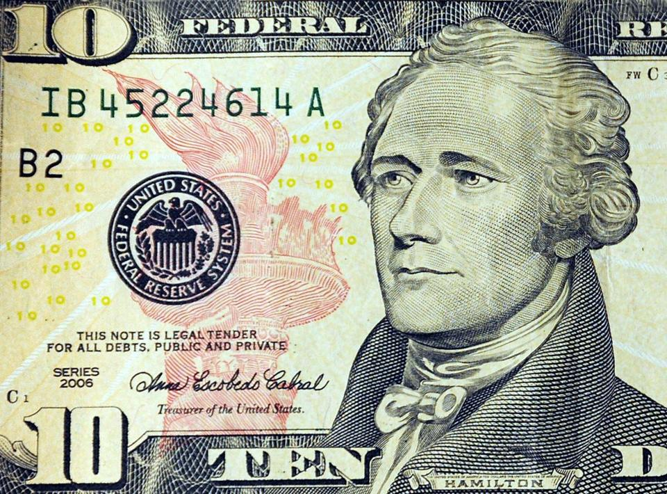 Alexander Hamilton has been featured on the $10 bill since 1929.