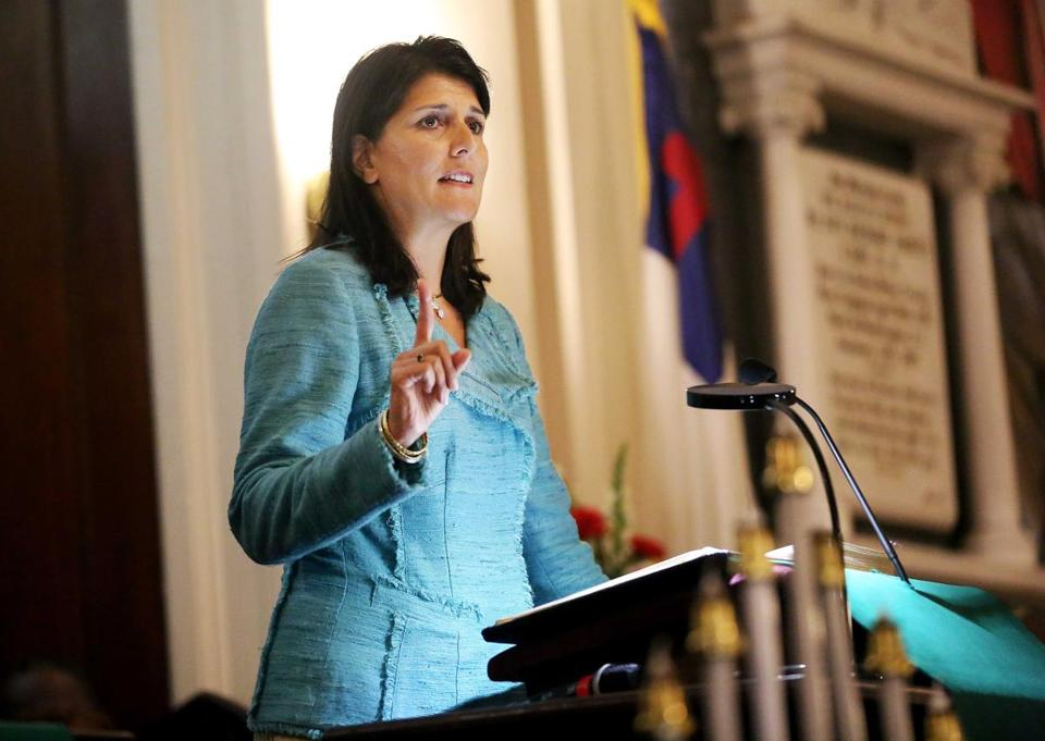 Governor Nikki Haley addresses a full church during a prayer vigil held at Morris Brown AME Church, South Carolina on Thursday.