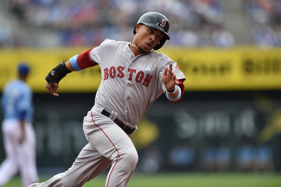 Mookie Betts, who was 3 for 5, rounded third base on his way to the plate in the sixth inning.