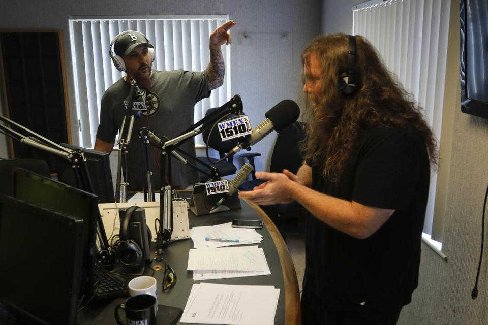 John Picka and Bryan Berner,  new talk-show hosts at 1510 WMEX-AM, were on the air during their 1:30 segment Monday at the station's Quincy studio.