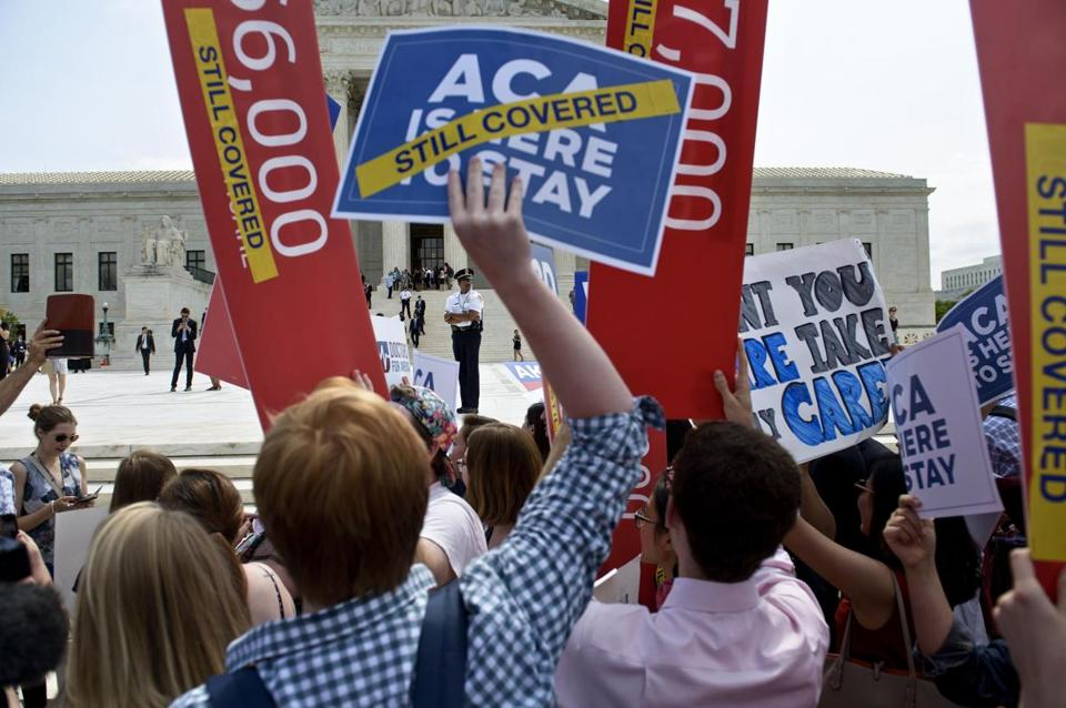 "Supporters of the Afforable Care Act rally outside the US Supreme Court June 25, 2015 in Washington, DC. The US Supreme Court on Thursday upheld a disputed portion of President Barack Obama's landmark health care reform, in a major legacy-building victory for his administration. By a margin of six to three, the judges ruled in favor of allowing the federal government to subsidize health insurance by giving tax credits to consumers nationwide. Opponents of the Affordable Care Act -- better known as ""Obamacare"" -- had argued that it was unconstitutional for the federal government to subsidize insurance in this way in states that refused to set up their own insurance exchanges. AFP PHOTO/BRENDAN SMIALOWSKIBRENDAN SMIALOWSKI/AFP/Getty Images"