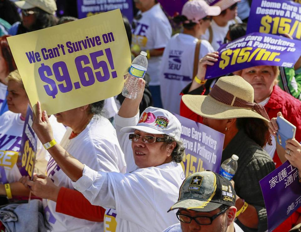 Home health care workers rallied for better wages in Los Angeles in April.
