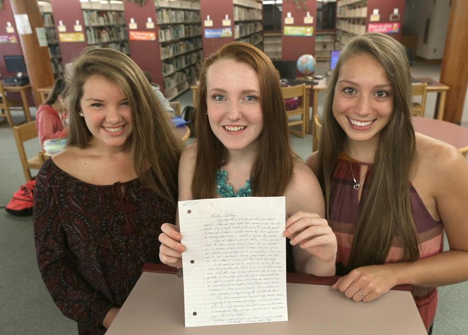 Mollykate Rodenbush, Brittany Tainsh, and Michaela Arguin (from left) received a handwritten reply from Whitey Bulger for a school project.