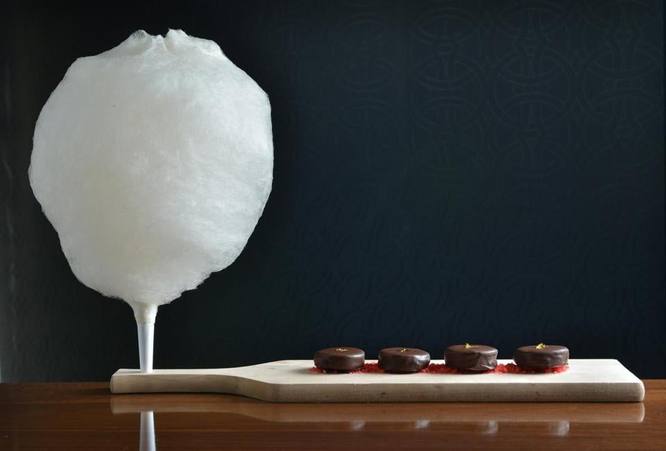Whiskey-flavored cotton candy, with house made Oreo-esque chocolate  cookies and Pop Rocks.
