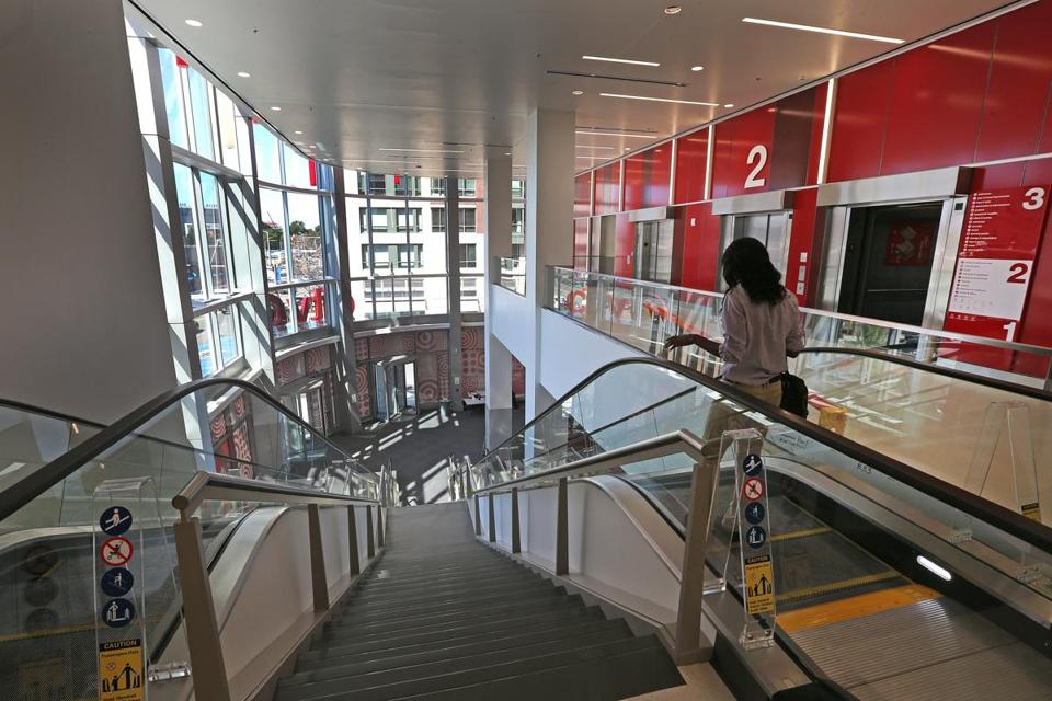 Escalators lead up to a 160,000-square-foot shopping area on the second and third floors — larger than the typical CityTarget.