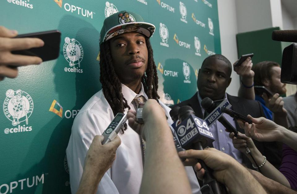 Waltham, Massachusetts - 6/30/2015 - Boston Celtics draft pick Marcus Thornton speaks to members of the media during a media availably introducing the team's draft picks in Waltham, Massachusetts, June 30, 2015. (Keith Bedford/Globe Staff)