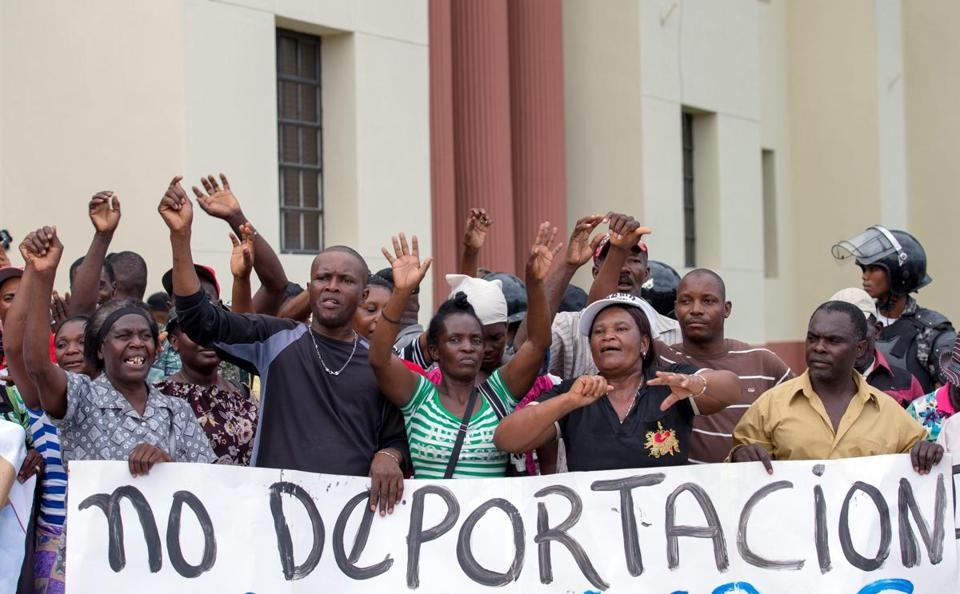 Haitian migrants protested outside the National Palace in Santo Domingo, the Dominican Republic, in June.