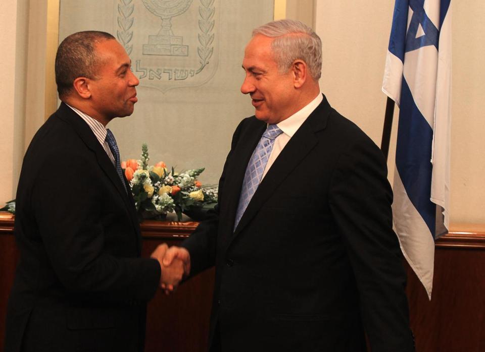Deval Patrick met Benjamin Netanyahu, prime minister of Israel, on a visit in 2011.