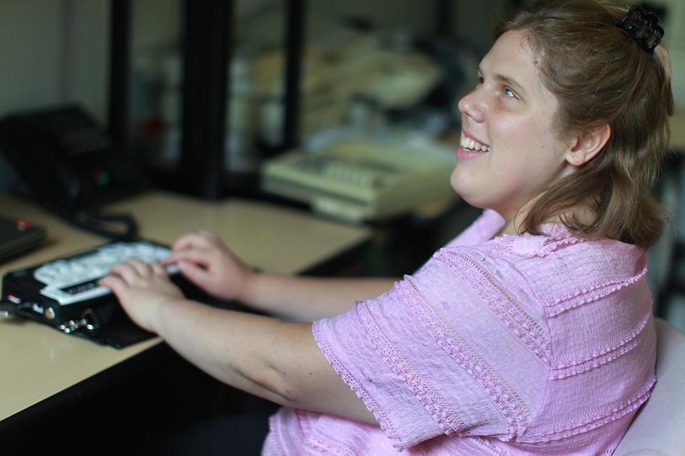 Amber Pearcy, 29, is a proofreader for National Braille Press, a nonprofit Boston-based publisher.