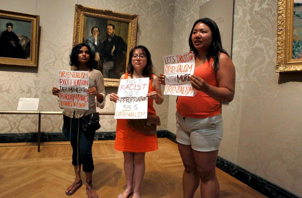"In June, protesters objected to the MFA's ""Kimono Wednesday"" event."
