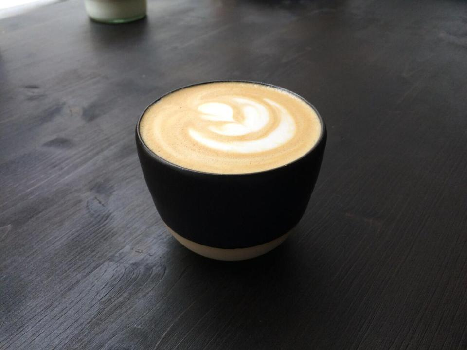 A flat white at Zamm Coffee + Art Collective, one of the best of the new shops.