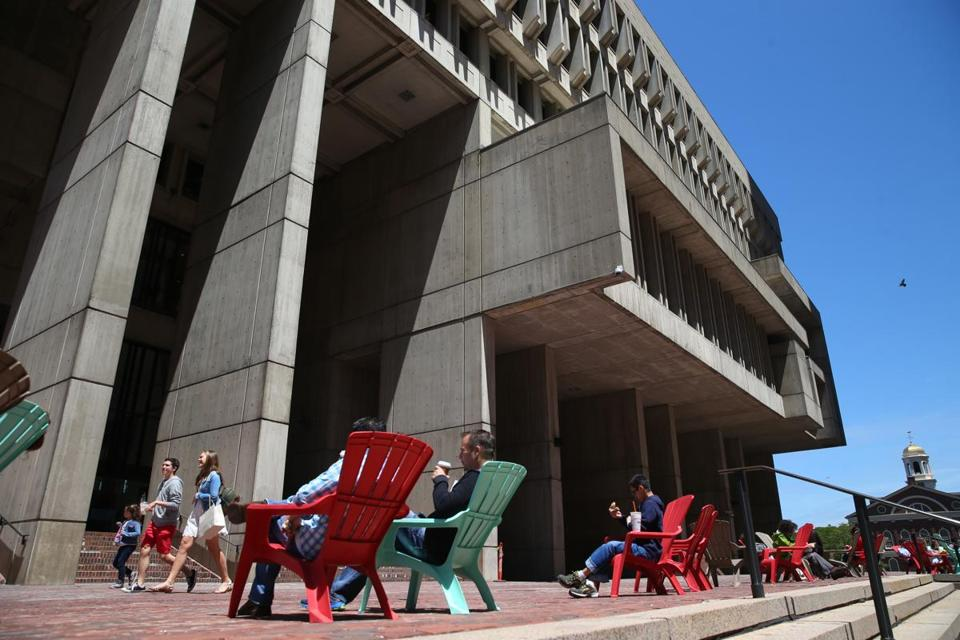Plastic chairs were recently stationed on City Hall Plaza. What could be next for the concrete expanse?