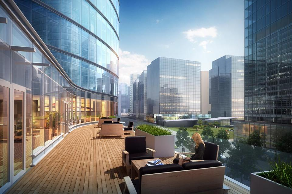 Rendering of 121 Seaport Blvd., an 18-story office tower proposal for the Seaport District.