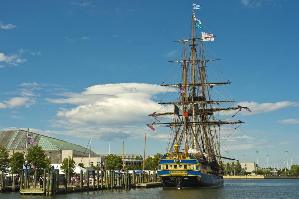 The replica of Marquis de Lafayette frigate is making appearances at 11 ports of call on the Eastern seaboard.