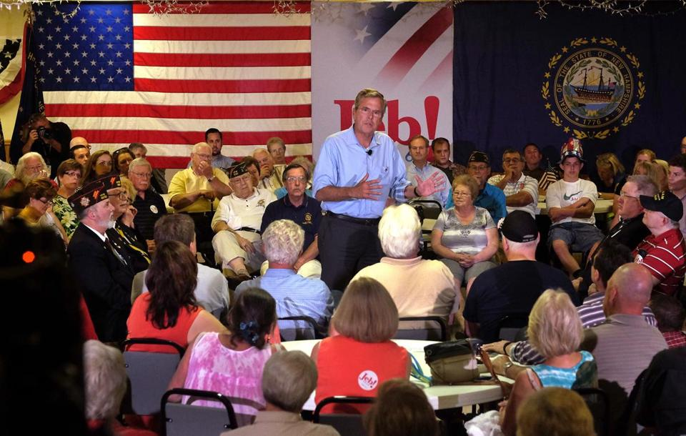 Republican presidential hopeful Jeb Bush spoke at a town hall meeting at the Hudson VFW.