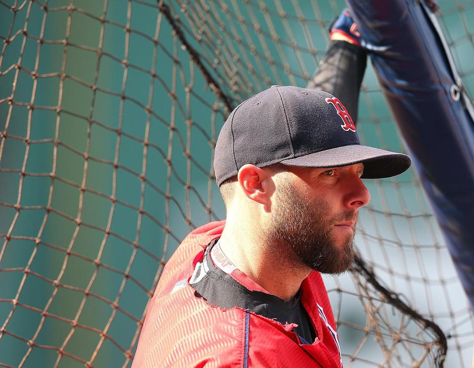 Dustin Pedroia waited to take batting practice before Friday's game.