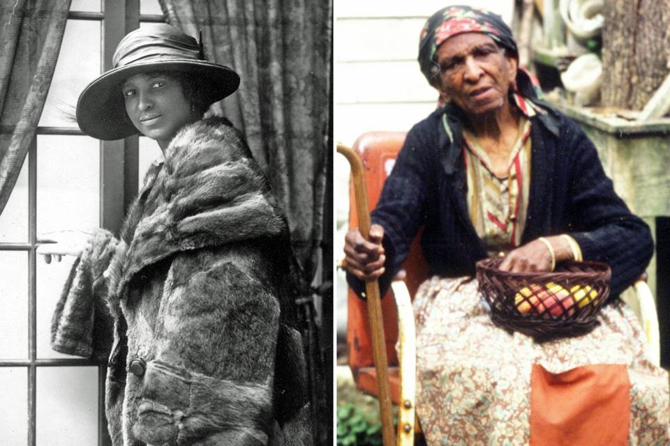 Daisy Turner around 1920 (left) and in 1984, the year she turned 101.