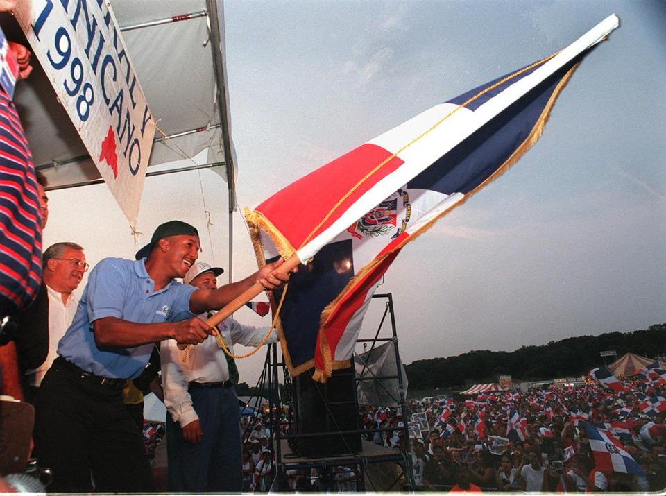 Mayor Tom Menino joined Pedro Martinez at the festival in 1998.