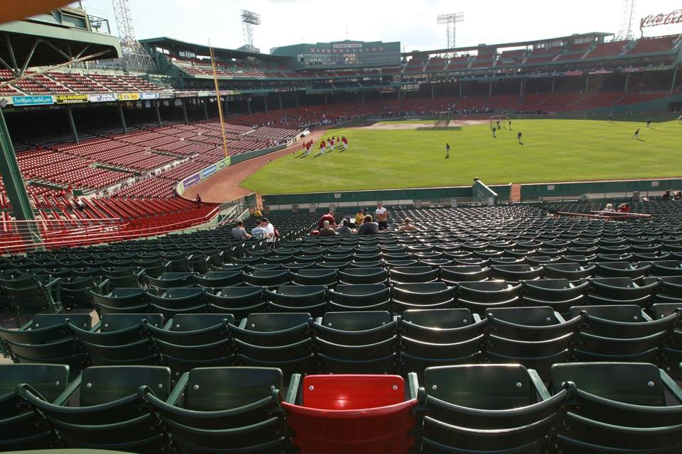 The red seat marks the spot of the longest home run ever hit at Fenway Park – 502 feet by Ted Williams on June 9, 1946.