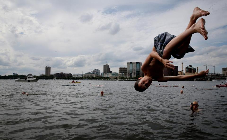 A swimmer took the plunge at a 2015 CitySplash event at the Charles River Esplanade in Boston.