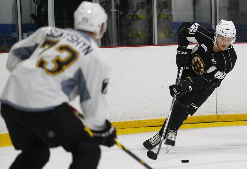 Defenseman Jakub Zboril (right) has shown impressive skating ability at Bruins development camp this week.