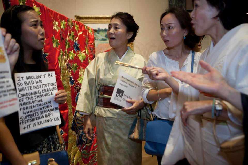 Matsuko Levin (center), Danyeun Kim, and Etsuko Yashiro were at odds with a group of younger women protesting at the MFA.