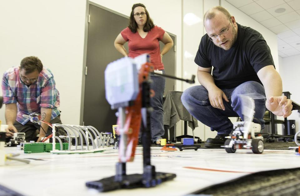 Sean Sumner tested his Lego robot during a recent course for parents and teachers at the Massachusetts Green High Performance Computing Center in Holyoke.