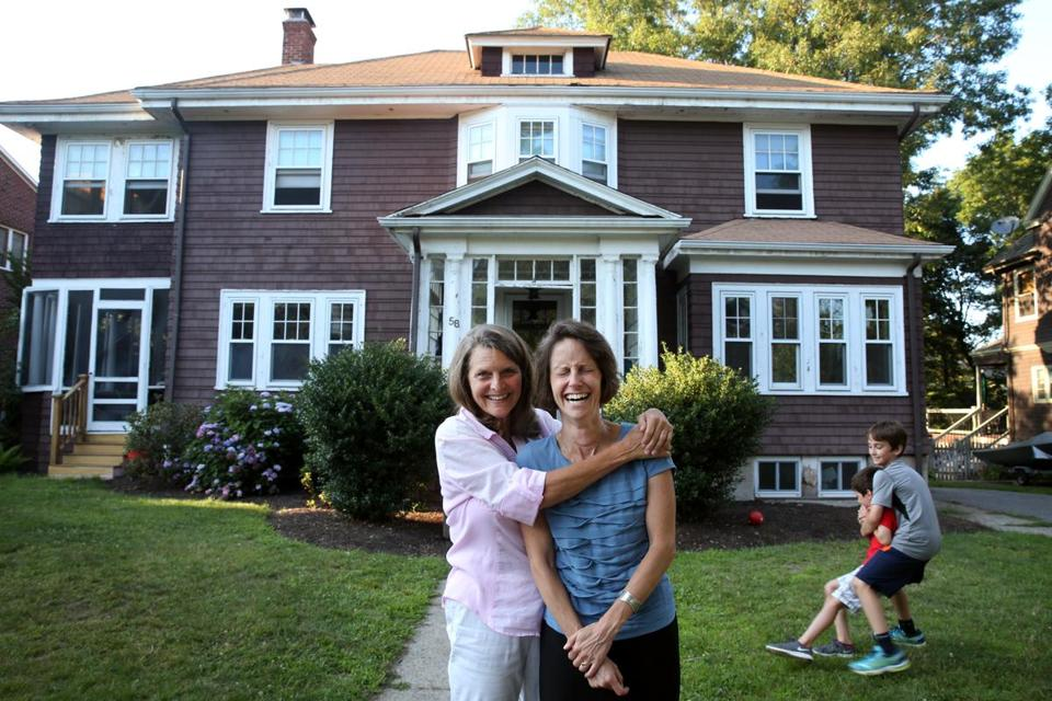 Emily Norton (above, on right) purchased her childhood home in Newton from her mother, Sally Fleschner.