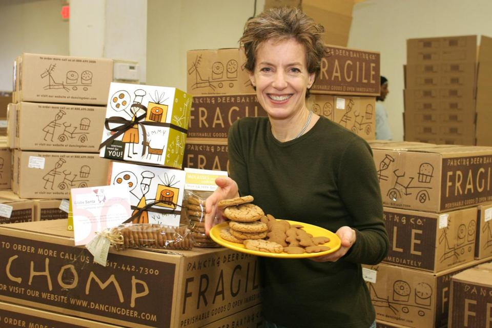 Trish Karter, President and Co-Founder for Dancing Deer Baking Company which will donate a portion of sales from a cookie box with gingerbread cookies and molasses cookies to Globe Santa. 11/28/06 Globe Photo by Christina Caturano Library Tag 01212007 City Weekly Library Tag 06262010 Names