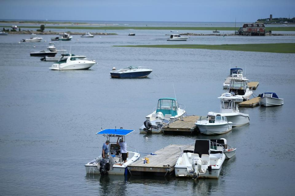 Boats on the North River near Scituate/Marshfield line. Credit: Jonathan Wiggs/Globe Staff