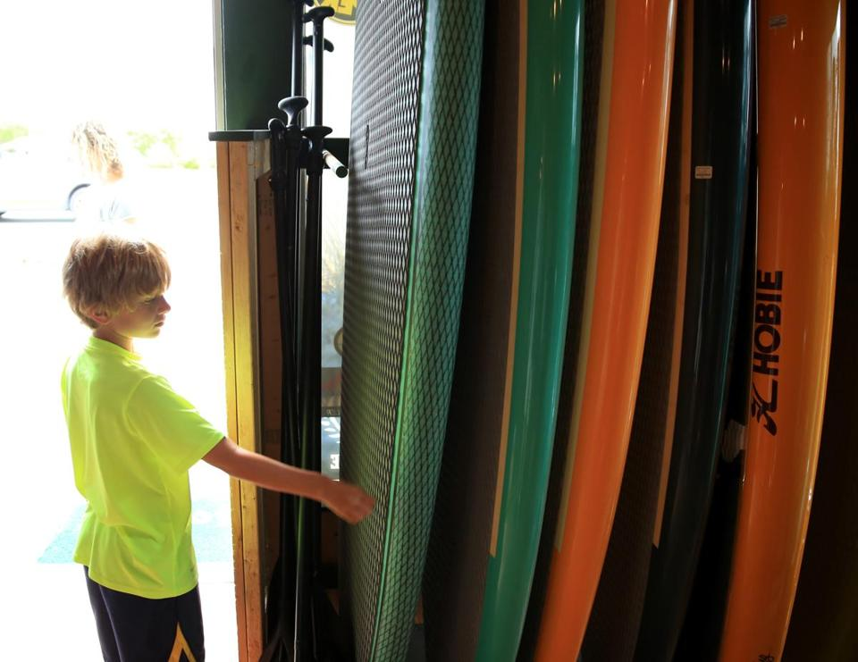 Hunter Ownen checked out surf boards at Levitate.