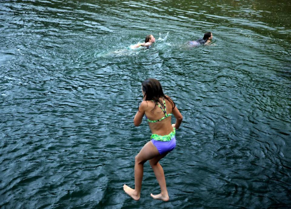 Children swam in the Green Harbor section.